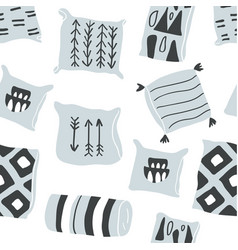 Seamless pattern with hygge pillows vector