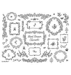 set floral doodle grames dividers vector image