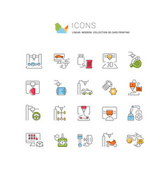 Set line icons 3d cars printing vector