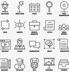 set linear business education icons - part 1 vector image