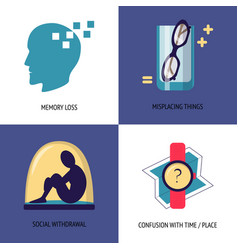set of alzheimer s disease symptoms icons in flat vector image