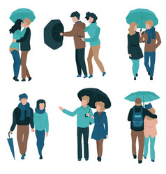 set of couple under umbrella vector image