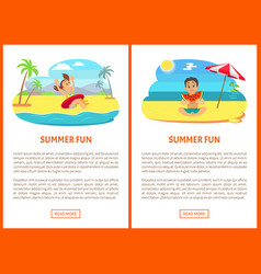 summer fun poster swimming and eating vector image