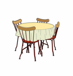 Table and red chairs vector