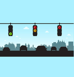 Traffic lights - cars in city with skyline vector