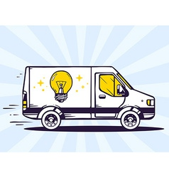 Van free and fast delivering light bulb t vector