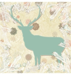 Vintage christmas deer card template EPS 8 vector image