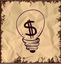 Vintage lightbulb with dollar symbol inside vector image