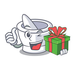 With gift mortar mascot cartoon style vector