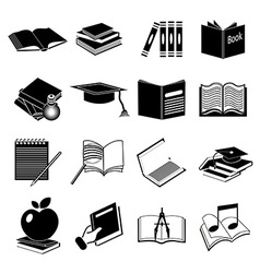 Books education icons set vector image