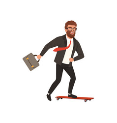 cheerful businessman riding fast on skateboard vector image