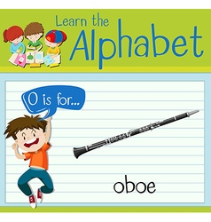 Flashcard letter O is for oboe vector image