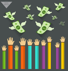 hand and money object with wings flying vector image