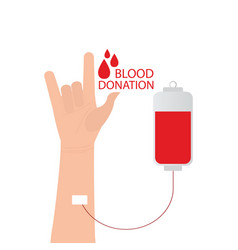 i love you language hand sign with blood donation vector image