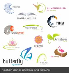 icons animals and nature vector image vector image