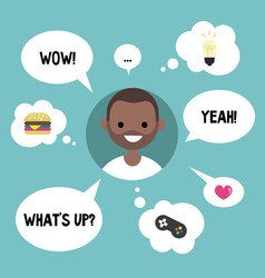 modern communication concept happy black guy vector image