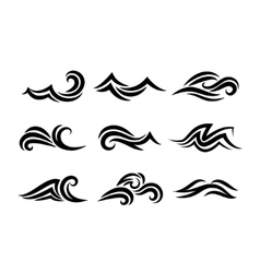Ocean hand drawn waves isolated on white vector image vector image