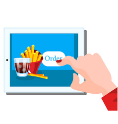 people holding tablet in hand to order food online vector image vector image