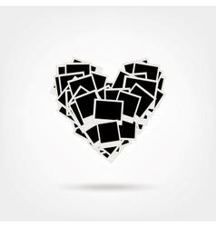 Polaroid Heart Shape Photos vector image vector image