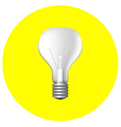 realistic light bulb on yellow vector image