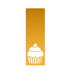 Rectangle banner frame with silhouette cupcake vector