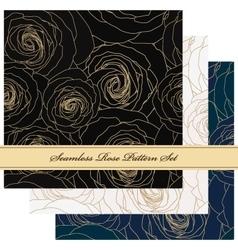 Seamless floral rose pattern set vector