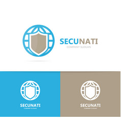 shield and planet logo combination vector image