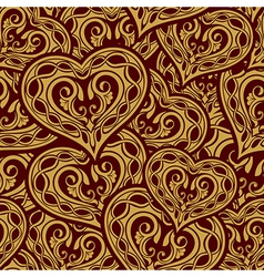 wedding gold seamless wallpaper pattern with heart vector image