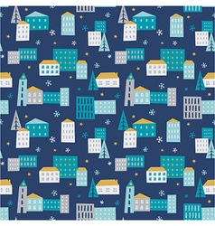 Winter town - seamless pattern vector image