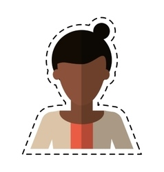 Afro woman bun hair sweater casual cutting line vector