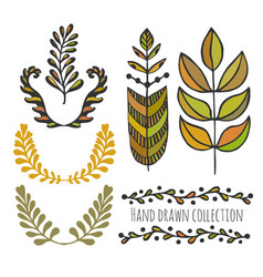 ethnic collection with stylized colorful leaves vector image vector image