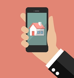 Hand holding smart phone with house icon vector image vector image