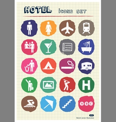 Hotel and service web icons set drawn by chalk vector