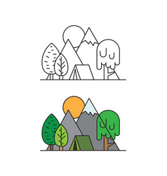 tourist tent in a camping at forest tree on vector image vector image