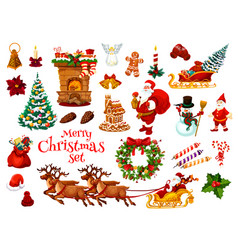 christmas and new year holiday icon of xmas design vector image vector image