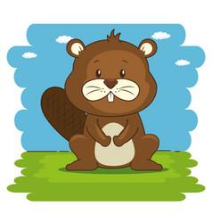 Cute adorable beaver animal cartoon vector