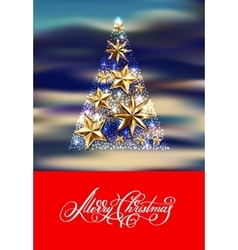 gold stars christmas tree with hand lettering vector image