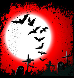 Halloween background - destroyed cemetery in full vector image vector image