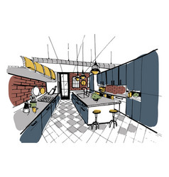 modern kitchen interior in loft style hand drawn vector image