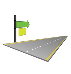 road with signboard color vector image