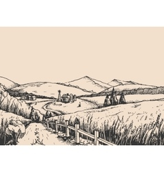 Rural landscape with hills in the graphic style vector image vector image