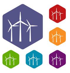 wind turbines icons set vector image