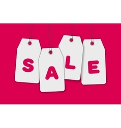 Blank price sale tag composition isolated on pink vector image