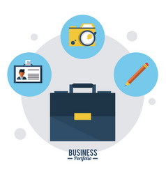 colorful poster business portfolio with briefcase vector image vector image