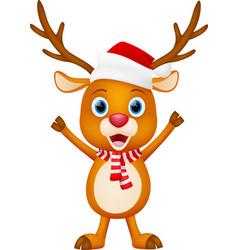 cute deer cartoon standing vector image vector image