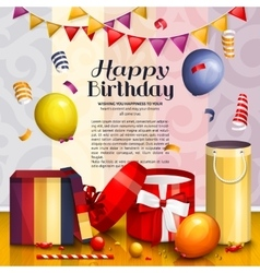 Happy birthday greeting card Pile of colorful vector image vector image