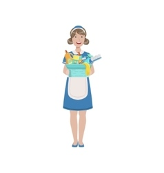 Hotel Professional Maid With Bucket Of Household vector image vector image