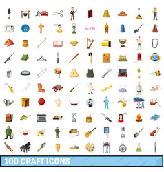100 craft icons set cartoon style vector