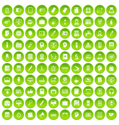100 work space icons set green vector