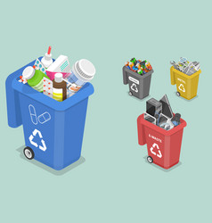 3d isometric flat concept sorting waste vector image